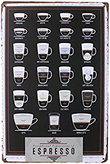 dingleiever-Types of Espresso's Cup Metal Tin Sign Bar Pub Wall Decor Poster Cafe Art