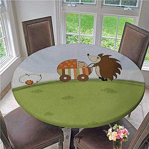 Elasticized Table Cover Baby Shower Theme A Hedgehog Pushing a Stroller with Baby Illustration Round Table Cloth Cover Elastic Bands Help Secure the Tablecloth Baby Blue Pistachio Diameter - 55 Inch