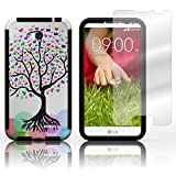 CoverON Hybrid TPU & Hard Plastic Dual Layer Case for LG Optimus L70 Exceed 2 Realm Pulse Ultimate 2 L41C + Screen Protector - Love Tree Design