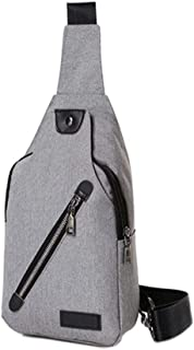 Chest Bag Men's Bag Shoulder Messenger Bag Male Korean Version of The New Canvas Oxford Cloth Sports Casual Bag (Color : Gray)