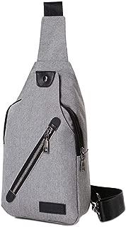 Chest Bag Men's Bag Shoulder Messenger Bag Male Korean Version of The New Canvas Oxford Cloth Sports Casual Bag (Color : Gray)