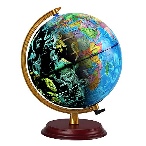 TTKTK Illuminated World Globe with Wooden Base - Night View Stars Constellation Pattern Globe with Detailed World Map,Built-in LED Bulb, No Battery Required, Educational Gift, Night Stand Decor 8inch