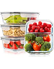 Set of 4 Food Container Meal Prep Glass, Lunch Box, 2 Leakproof Compartments, XL Sizes 1000ml - Bento Box Dish - Food Container Meal Prep Bpa Free - Meal Prep, Microwave, Storage, Freezable