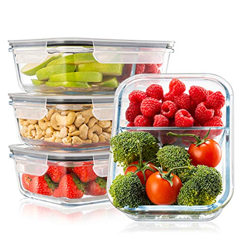 Pack 4 Recipientes de Cristal para Alimentos, 2 Compartimentos Herméticos, Tamaño XL 1040ml - Recipiente Cristal sin BPA para comidas - Meal Prep Comidas, Conservación, Congelación Alimentaria