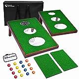 GoSports BattleChip Versus Golf Game - Includes Two 3' x 2' Targets, 16 Foam Balls, 2 Hitting Mats, Scorecard and Carrying Case, Green