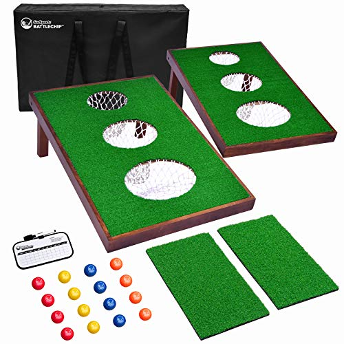 GoSports BattleChip Versus Golf Game - Includes Two 3' x 2' Targets, 16 Foam Balls, 2 Hitting Mats, Scorecard and Carrying Case