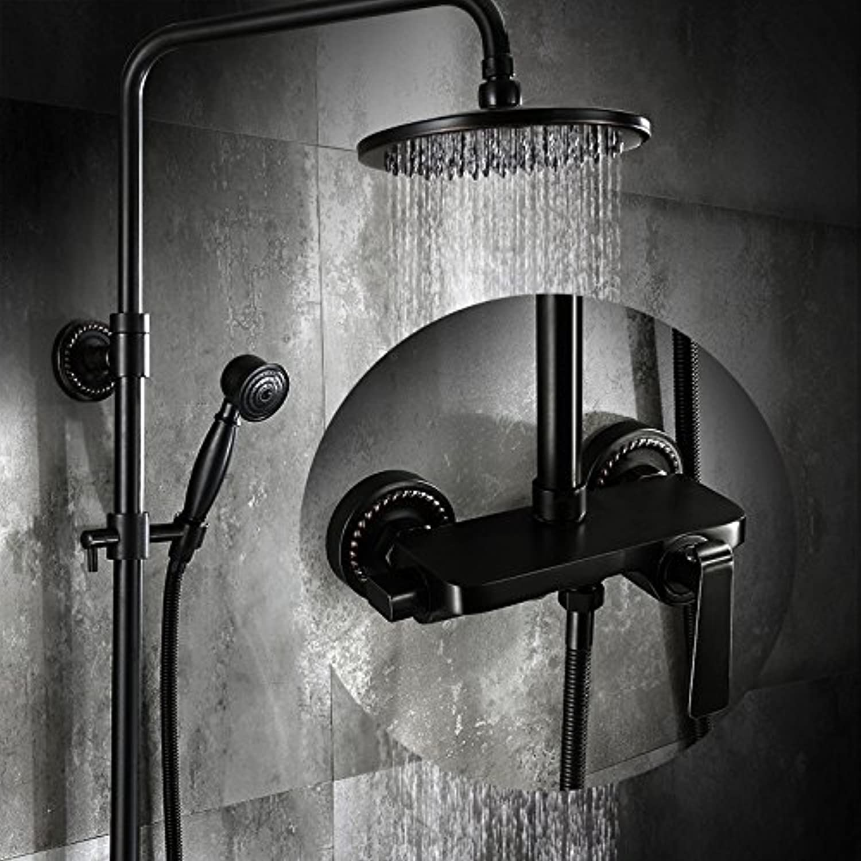 Bijjaladeva Antike Badezimmer Regen Mixer Dusche Regendusche Hahn System Tippen Schwarz Minimalistischen Continental Antikes Messing - Dusche Boost Regendusche Dusche Wasserhahn