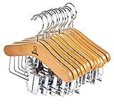 Lote de 12 perchas de madera correderas de alta calidad, clásicas y sólidas con rotación de 360º, ideales para ropa de bebé o niño, longitud 25 cm