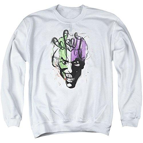 Batman Männer Joker Airbrush Pullover, X-Large, White