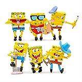 cheaaff KY 6 pièces Spongebob Figure Jouets Éponge Bob Cosplay PVC Figurines d'action Anime Figure Classique Enfants Jouets pour Garçons Filles Enfants Cadeau