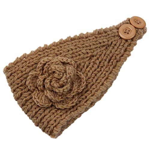 Ogquaton - Diadema de flores de camelia para mujer, crochet, cálida, para regalo, duradero y útil