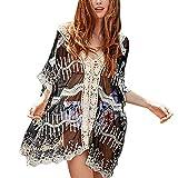 ZYZS Poncho de playa para mujer de punto, traje de baño de encaje crochet vestido de playa con borlas, pareos y vestidos de playa para mujer Negro Talla única