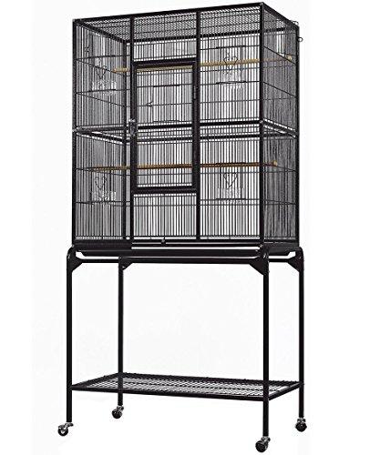 Everila YFT32 New Bird Parrot Cage 30'x18'x63' 1/2' Bar Spacing Cockatiel Conure Finch Parakeet Senegal Lovebird Sugar Glider Chinchilla Ferret