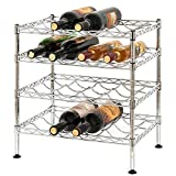 Bakaji - Botellero portabotellas de Vino de 16 plazas, de Acero Cromado, 4 estantes, portabotellas Ajustable, para casa, Bar,...