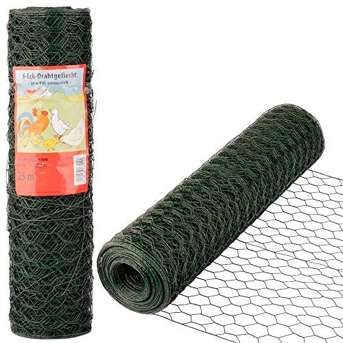 Kaninchendraht Maschendraht 25m lang 50cm hoch Drahtgitter Grün PVC Hasendraht Maulwurfsperre Wühlmausschutz Wühlmausgitter 25x0,5m