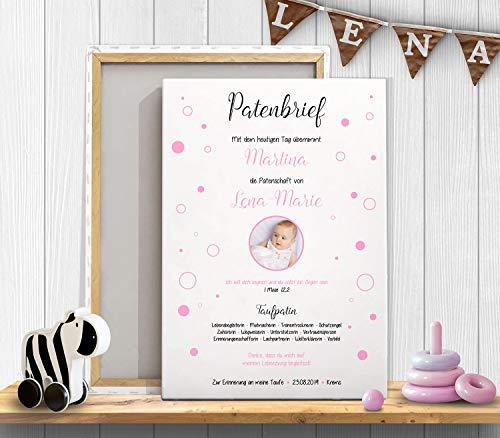 Patenbrief Taufbrief Paten-Urkunde Geschenk für Taufpate und Patenkind zur Taufe mit Foto
