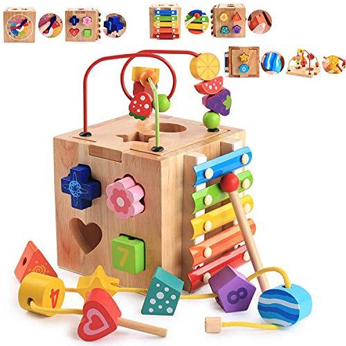 Abester Centro attività Bambini Cubo di Costruzione Giochi Bambin Cubi Giocattoli Bambino 1 Anno - 5-in-1 Multifunzione Montagne Russe Educativi Prima1-4 Anni