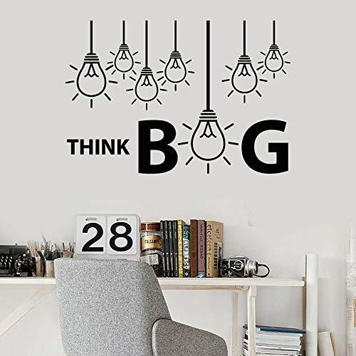 WERWN Piensa en Grande calcomanías de Pared Ideas Creativas Bombilla de luz lámpara decoración de Interiores de Oficina Pegatinas de Vinilo para Ventanas Word Art Mural