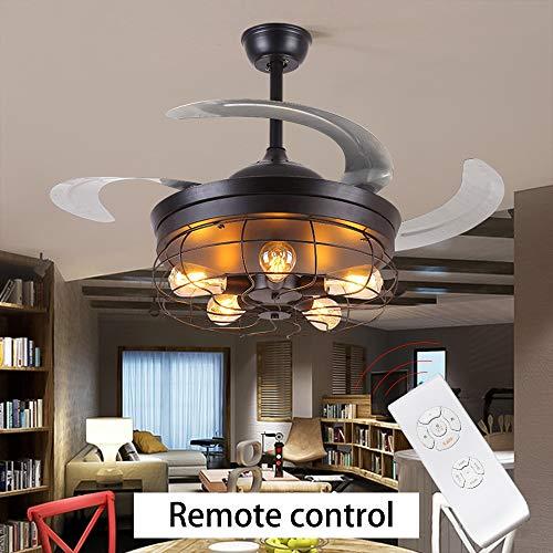 Nuokix 42 pulgadas retro ventilador de techo control remoto luz invisible retráctil ventilador lámpara lámpara bombilla plegable luces sala de estar dormitorio e27 Lampara Ahorradora de Energia