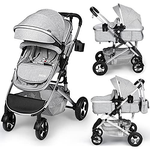 Kinder King 2 in 1 Convertible Baby Stroller, Folding High Landscape Infant Carriage, Newborn Reversible Bassinet Pram, Adjustable Canopy, Diaper Bag, Anti-Shock Toddler Pushchair Stroller, Light Grey