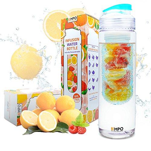 EMPO Trinkflasche mit früchtebehälter - 700ml/25oz mit kostenlosem Rezepte eBook BPA Freies Tritan Sportflasche - Langlebig und leicht - Blau