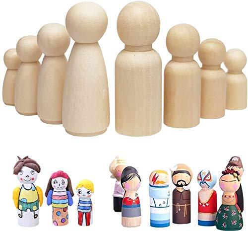[54 st-uppgradering] BOODON oavslutad trädocka, paket med 54 i 4 olika former och storlekar, naturliga trämänniskor dockformer för gör-det-själv hantverk, barnmålning, dekoration och hängsmycken av leksaker