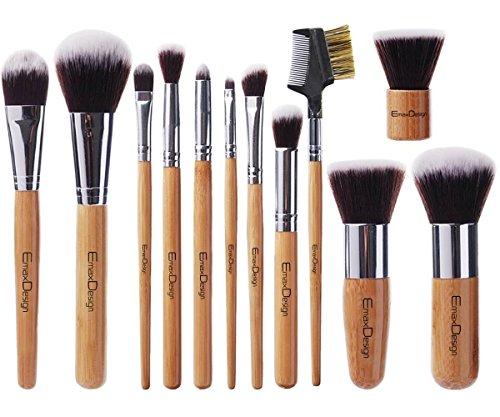 Juego de Brochas de Maquillaje de EmaxDesign | Mango de Bambú | Funda de Maquillaje Kabuki Sintética Premium | Para Cremas, Polvos y Líquidos | Pinceles cosméticos con Bolsa | 12 Piezas