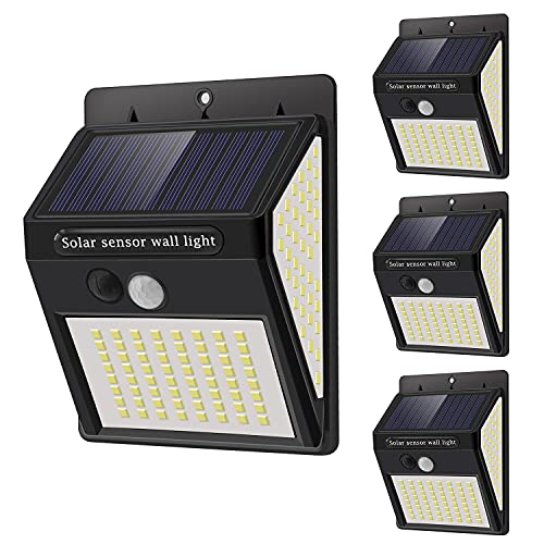 Luce Solare Led Esterno - 4 Pezzi 144 LED Faretti Solari a LED da Esterno,3 Modalità Luci Solari Esterno con Sensore di Movimento,270ºIlluminazione IP65 Impermeabile Lampada per Giardino Faro Parete