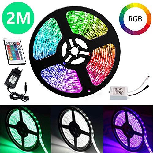 VINGO LED Streifen 2M LED Strip RGB LEDs Band mit 24 Tasten IR Fernbedienung 12V LED Klebestreifen 120 LEDs