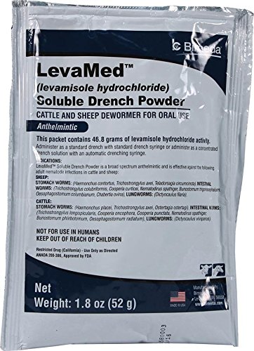 DURVET 698902 Levamed Soluble Drench Powder Dewormer, White, 52g