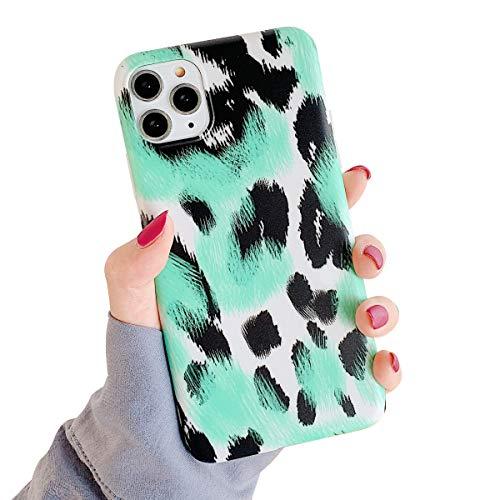 Oihxse Mode Nouveau Marbre Case Compatible pour iPhone 7 Plus/iPhone 8 Plus Coque Motif Artistique Brillant Fleur Protection Housse Glitter Silicone Ultra-Mince Etui Anti-Scrach Bumper-Vert