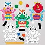 Baker Ross Frosch Sandkunst Magnete Bastelset für Kinder (6 Stück) Kreativsets zum Basteln und Dekorieren zur Frühlingszeit