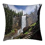 tyui7 Funda de Almohada Throw Pillow Funda de Almohada de poliéster Parque Nacional de Yosemite Caída Vernal Famoso Escalada Destino Imagen turística,18x18 Pulgadas