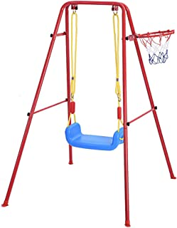 Kimanli Children's Toys Swing Basketball Combination Swing Set for Indoor and Outdoor Courtyards Play