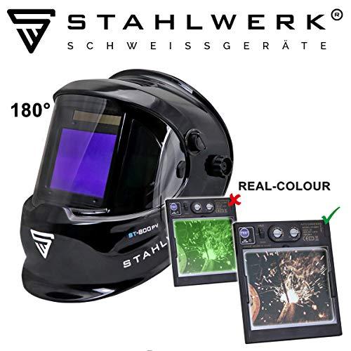 STAHLWERK ST-800PV Vollautomatik Schweißhelm, Optische Klasse: 1/1/1/1, großes Sichtfeld, inkl. 2 Ersatzscheiben, schwarz, 7 Jahre GARANTIE auf FILTER
