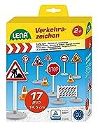 Verkehrszeichen Set mit 17 Teilen 3 Warnschilder, 3 Stoppschilder, 3 Verbots- bzw. Gebotsschilder, 3 Bauzäune und 5 Pylonen Verkehrszeichen ca. 16 cm Mit Stickerbögen zum Bekleben Hergestellt in der EU.