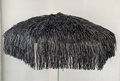 Jan Kurtz Hawaii Sonnenschirm, SCHWARZ, Raffiabast - Polyester, Metallgestell lackiert, mit Knickgelenk Ø 180/200cm, Partyschirm, Dekoschirm