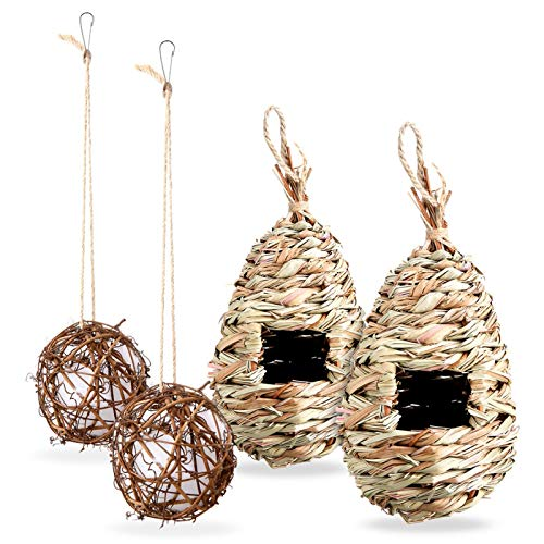 ONCHSH Hanging Hummingbird House Set of 4, Hand Woven Bird Nest Round Hummingbird Nesting House with Refillable Cotton Garden Outside Clearance(2 Shapes)