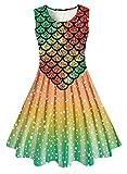 Small Girls Mermaid Frocks Size 6t 7t 8t 3D Hawaiian Print Red Green Orange Fish Scale Twirl Lace Maxi Pretty Beautiful Sun Dresses for Kids Pageant Ball Graduation Prom Wedding Dressy Clothes