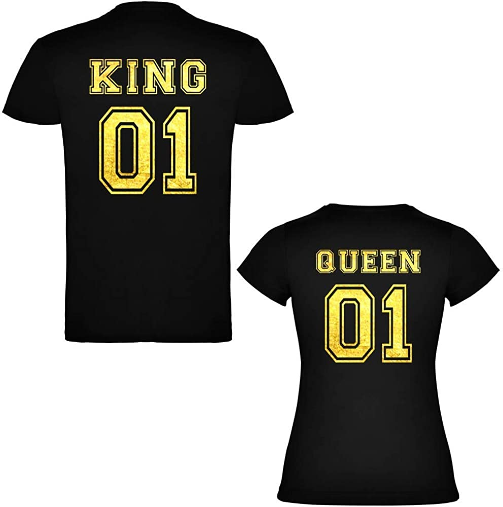 Pack de 2 Camisetas Negras para Parejas, King 01 y Queen 01, Dorado