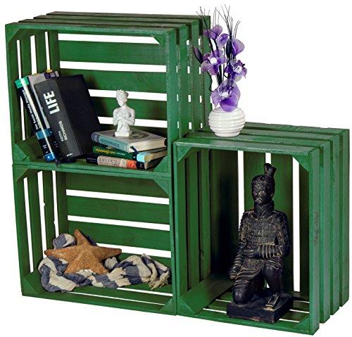 LAUBLUST 3er Set Sehr Große Vintage Holzkisten - 50x40x30cm, Grün Lackiert, Neu, Unbenutzt   Möbel-Kiste   Wein-Kiste   Obst-Kiste   Apfel-Kiste   Deko-Kiste aus Holz