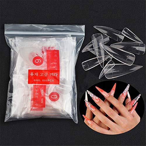 600 Stücke Lange Stiletto Nagelspitzen Falsche Nägel - Künstliche Fingernägel Scharfe Kunstnägel Tips Nägel für DIY-Nagelkunst und Nagelstudio - Transparente #2
