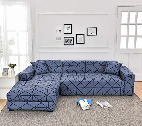 Fundas de sofá de Esquina para Sala de Estar Funda elástica elástica Sofá seccional Chaise Longue Funda de sofá en Forma de L A14 4 plazas