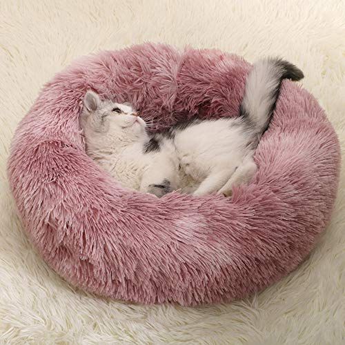 papasgix Hundebett Donut rund Katzenbett Hundekissen Hundesofa für Katzen Hunde,Einfarbiges Macaron Plüsch-Schlafnest für Katzen und Hunde mit Mehreren Farben XS/S/M/L/XL/XXL