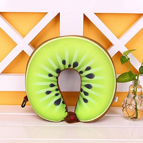 Fruits en forme de U Oreiller, Xshuai® Portable Oreiller de voyage en forme de U Coussin de Nanoparticules de massage pour le cou et endormi sur Avion, voiture, train,, C, Size: 280X295mm