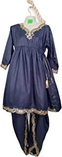Stylish Frock With Fancy Lace Payilia Shalwar Ethnic Traditional Pakistani Ready To Wear Dresses For Girls/Women, Grey\Green