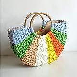 Dwqlx Moda Nuevo Bolso De Paja De Retazos De Color Bolso Tejido A Mano Bolso Casual Retro Simple Bolso Grande-1