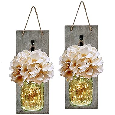 Mason Jar Sconce with LED FAIRY LIGHTS - Handcrafted Hanging Mason Jar Sconces Wall Decor (Set of 2)