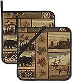 Bear Moose Mountain Lodge - Set di guanti da cucina per pentole da forno e pentole lavabili