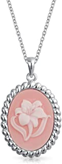 Vintage Style Rose Pink Craved Lily Flower Cameo Pendant 925 Sterling Silver Necklace For Women For Grandmother